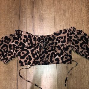 Cheetah Off The Shoulder Lace Up Crop Top